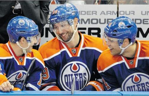"""The Kid Line"", Jordan Eberle, Sam Gagner and Taylor Hall, Edmonton Oilers."