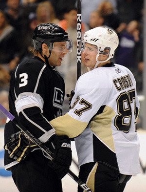 Jack Johnson and Sidney Crosby, Los Angeles Kings, Columbus Blue Jackets and Pittsburgh Penguins.