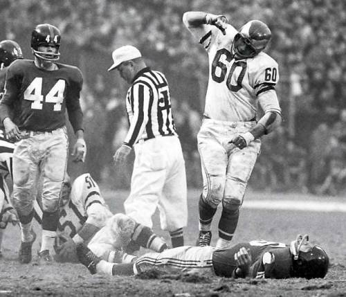 Happy birthday to Chuck Bednarik (no. 60), 87 years old today and still perfectly capable of kicking your ass.