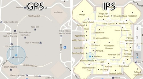 Think GPS is cool? IPS will blow your mind.  IPS. Indoor Positioning System. Yes, it's just what it sounds like: Google Maps but for inside. And according to this article, we're getting pretty close: Last year Google Maps began introducing floor plans of shopping malls, airports and other large commercial areas. Nokia has also invested in IPS, but based on 3-D models and not just 2-D floor plans. The future is here - It's just not widely distributed yet ;)