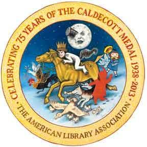 The new Caldecott 75th anniversary logo, by Brian Selznick, author and illustrator of The Invention of Hugo Cabret.