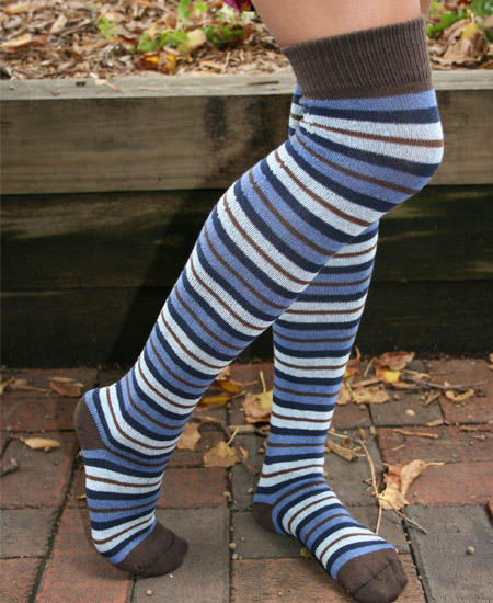 $16 (via Over The Knee Stripe Socks: Soul-Flower Online Store)