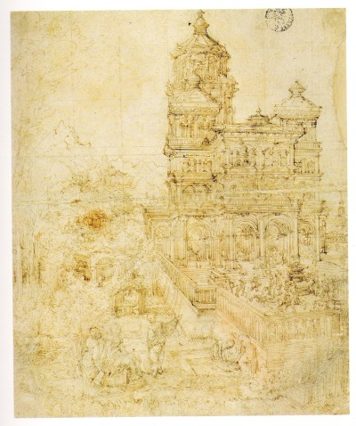 drawingdetail:  Albrecht Altdorfer, Overall sketch of the picture Susanna and the Elders, 1526. 33.2 x 27.4 cm.