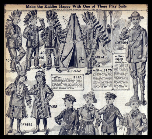 "~ Sears catalog, 1916via Flickr(click to enlarge)""Boy's Military Outfit. Made of strong olive tan khaki cloth in the latest Government shade. … Campaign style hat and haversack and a pair of heavy canvas puttes."""
