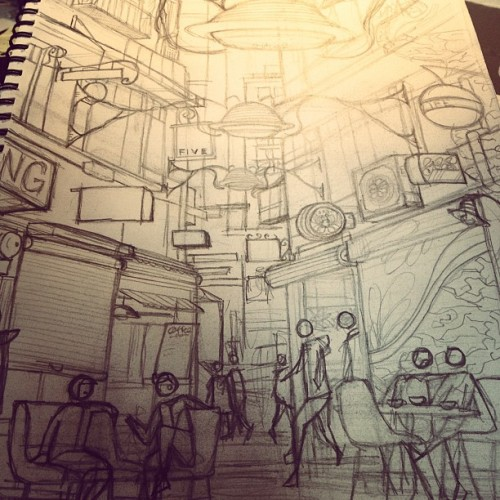 Degraves Street, Melbourne. WIP pencil. (Taken with instagram)