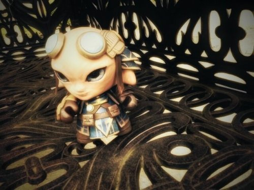 "darthasterisk:  Zojja in Rata Sum…? Guild Wars 2: Zojja custom Munny by ~liadys  Finished this right after the GW2 BWE. Made with a 4"" Kidrobot Munny and Sculpey, acrylics, and shiny stuff =)  It looks absolutely amazing! Even the expression is totally… Zojja!"