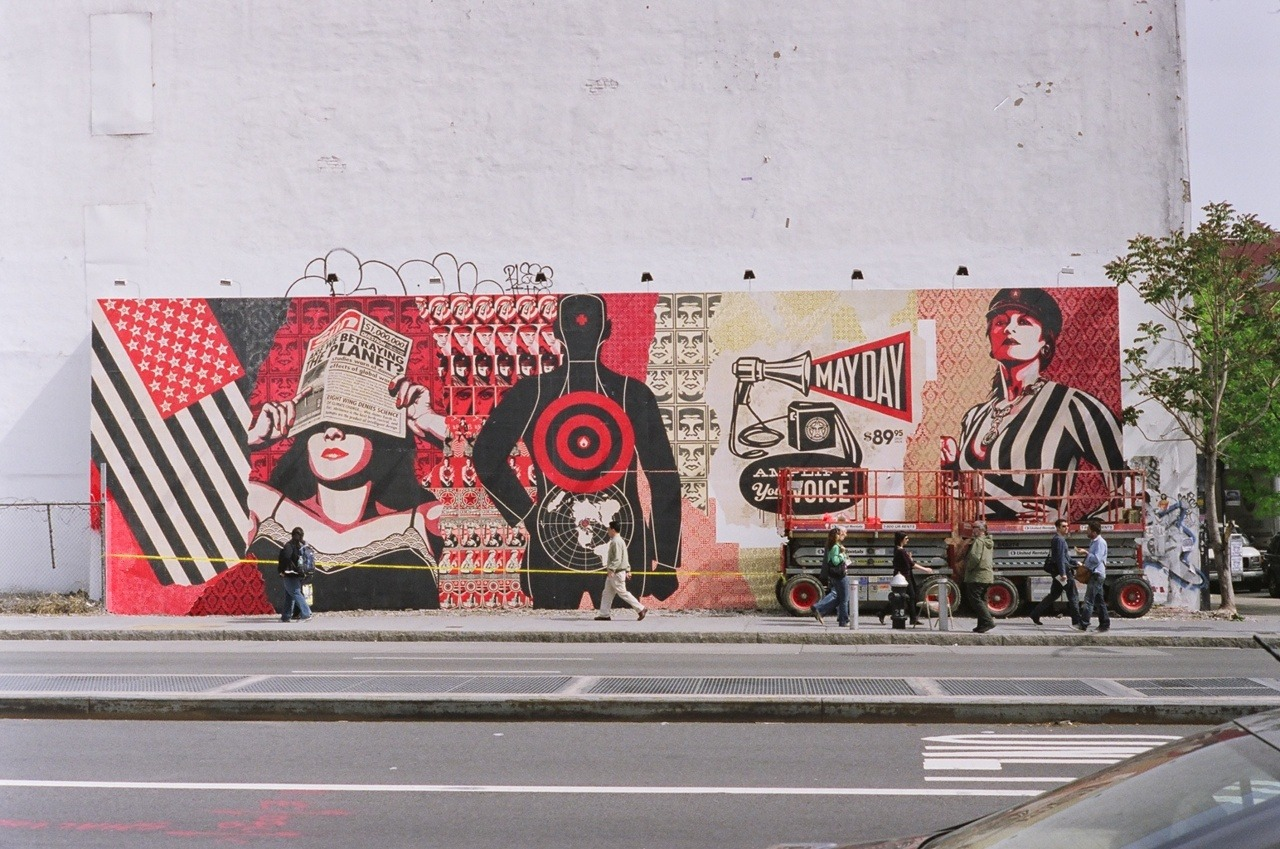 In honor of the date, Shepard Fairey's Bower Wall for his May Day Opening.
