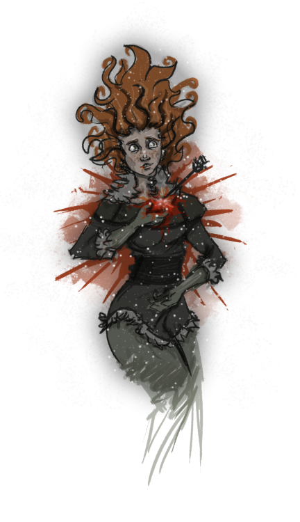 "FanArt 100 / Endings →  ""He found Ygritte sprawled across a path of old snow beneath the Lord Commander's Tower with an arrow between her breasts. The ice crystals had settles over her face, and in the moonlight it looked as though she wore a glittering mask of silver. The arrow was black, Jon saw, but it was fletched with white duck feathers. Not mine, he told himself, not one of mine. But he felt as if it were."""