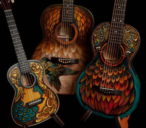 Hand Painted Ukuleles & Guitars by Lichty Guitars It's rare that I'm smitten by a sexy paint job, but something about these… (via rapidrivoltasilenziosa)