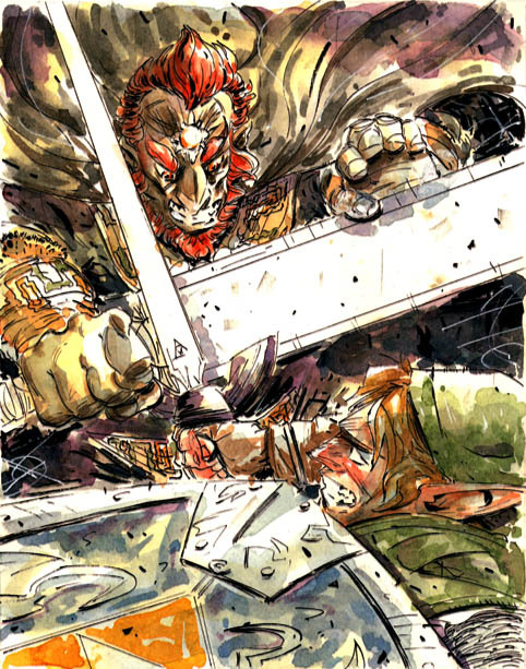rlopezortiz:  Link Vs. Gannon Watercolor sketch