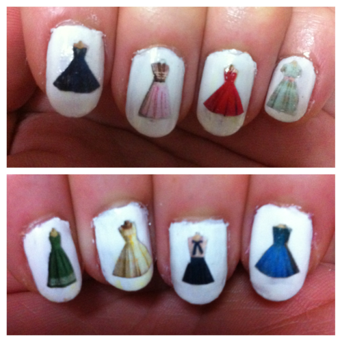 asimplecollage:  1st attempt of vintage dress nails with prints on paper, inspired by a post about Frankenstein nails on rookie. A bit messy but will surely try to make it better. Wonder if it can stand a shower, not sure if it's waterproof after the top coat.  FANTASTIC. <3 Anaheed