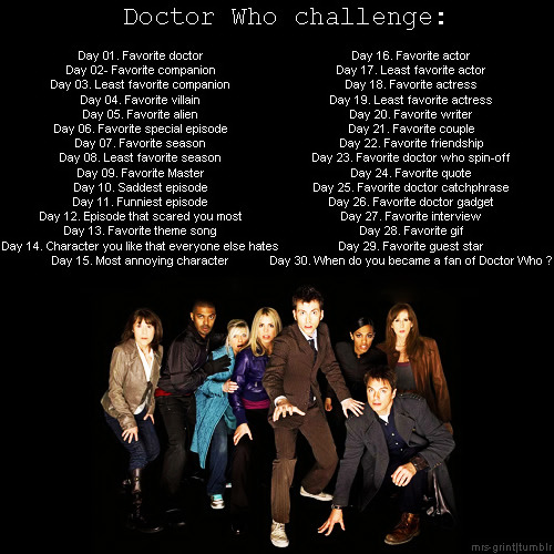 Day 5 - Possibly the Star Whale. That or the Weeping Angels. Day 6 - Voyage of the Damned. It might be just because I've not seen it as much as the others, but it's another one of those where the Doctor doesn't have one of his usual aids (the TARDIS) and has to improvise his way through peril. I enjoy those episodes a lot.