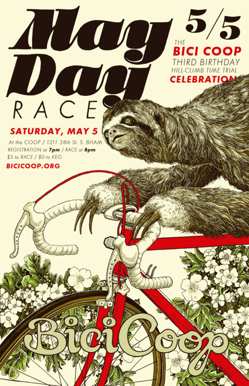 diybirmingham:  Bici Coop's Annual May Day Hill Climb »RSVP  Adorable sloth May Day race poster! I'll be there.