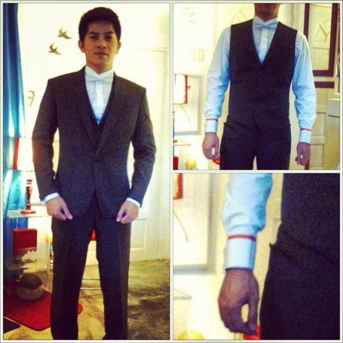 Groom Romeo Dela Cruz who got married last Sunday wearing an LR Bespoke suit ensemble  (Taken with instagram)