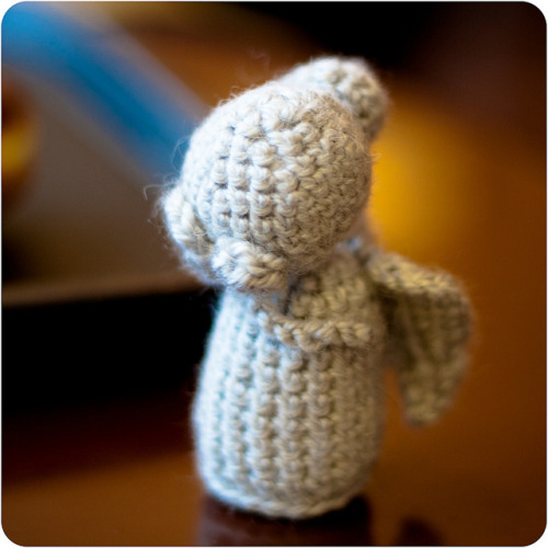 doctorwho:  Don't blink berrybell366:  A Weeping Angel I crocheted as a gift.   The only psychopath in the Universe that kills you nicely, and is rather cute and cozy.