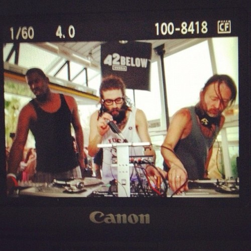 Flying Lotus, Gaslamp Killer and Thom Yorke throwing down in the Commune at Ace Hotel & Swim Club for Desert Gold weekend deux.  Instagram by Gaslamp Killer