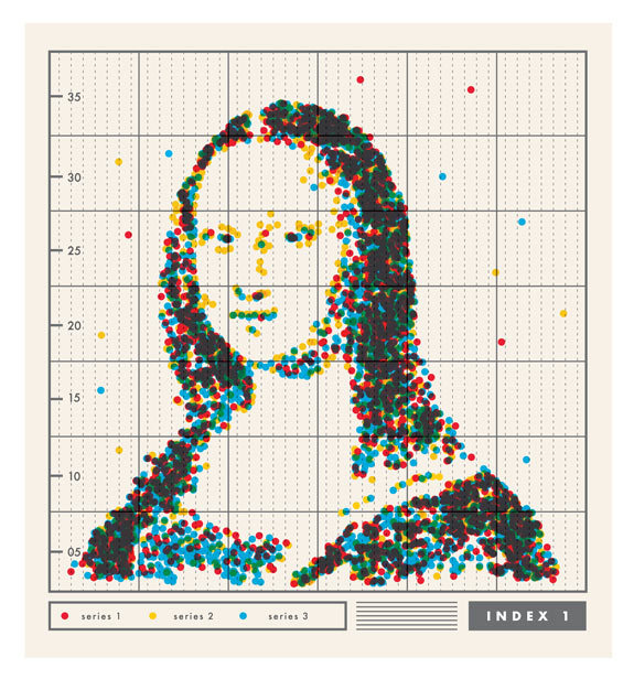 "explore-blog:  The Mona Lisa as a data plot by artist Oliver Munday.  I guess today is turning into art+science Tuesday, eh? Love this one! This gives a whole new meaning to ""I'd like to model for your next painting""."