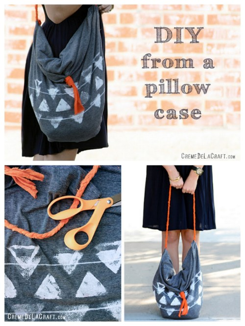 truebluemeandyou:  DIY No Sew Pillowcase Tote. Really clever. Tutorial from Creme de la Craft here.