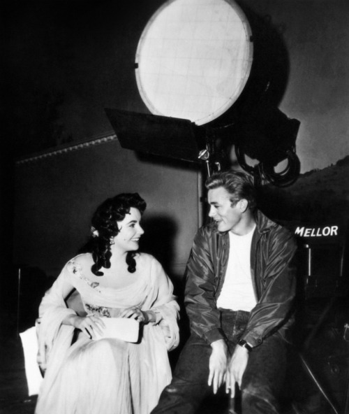 Elizabeth Taylor and James Dean on the set of Giant, 1955