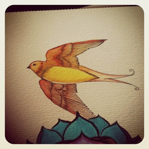 I guess im not into birds #watercolour #illustration #bird (Taken with instagram)