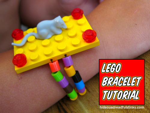 DIY LEGO Bracelet. You need a drill but maybe you could use a cord tip like from this tutorial here. Tutorial from Hideous! Dreadful! Stinky! here. *Other posts on Lego jewelry for party favors and fundraisers here and here.
