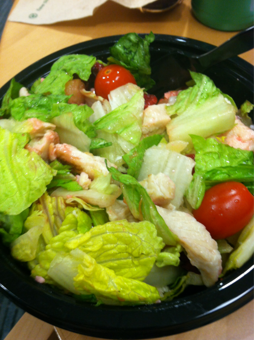 Lunchtime. A salad with grilled chicken, pineapple, tomatoes, craisins, and low fat raspberry vinaigrette.