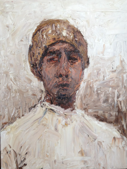"Untitled (self portrait with hat) 24x18"" Oil on canvas 2007"