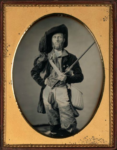 "ca. 1850, ""The Fisherman"", [daguerreotype portrait of a gentleman with a pipe and fishing pole], William C. North via the Nelson-Atkins Museum of Art, Photographic Collections"