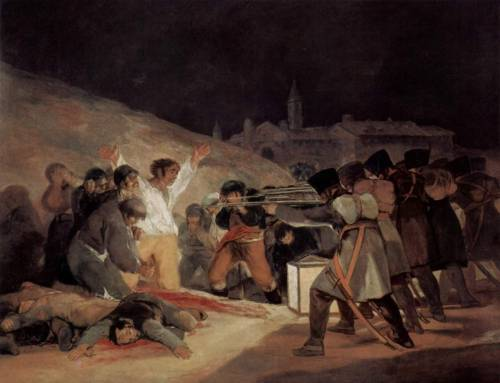 Tres de Mayo - Francisco Goya @credits  The Third of May 1808  is a painting completed in 1814 by the Spanish painter Francisco Goya, who sought to commemorate Spanish resistance to Napoleon's armies during the occupation of 1808. On the second of May1808, the people of Madrid rebelled against the occupation of the city by French troops, provoking a brutal repression by the French Imperial forces and triggering the Peninsular War