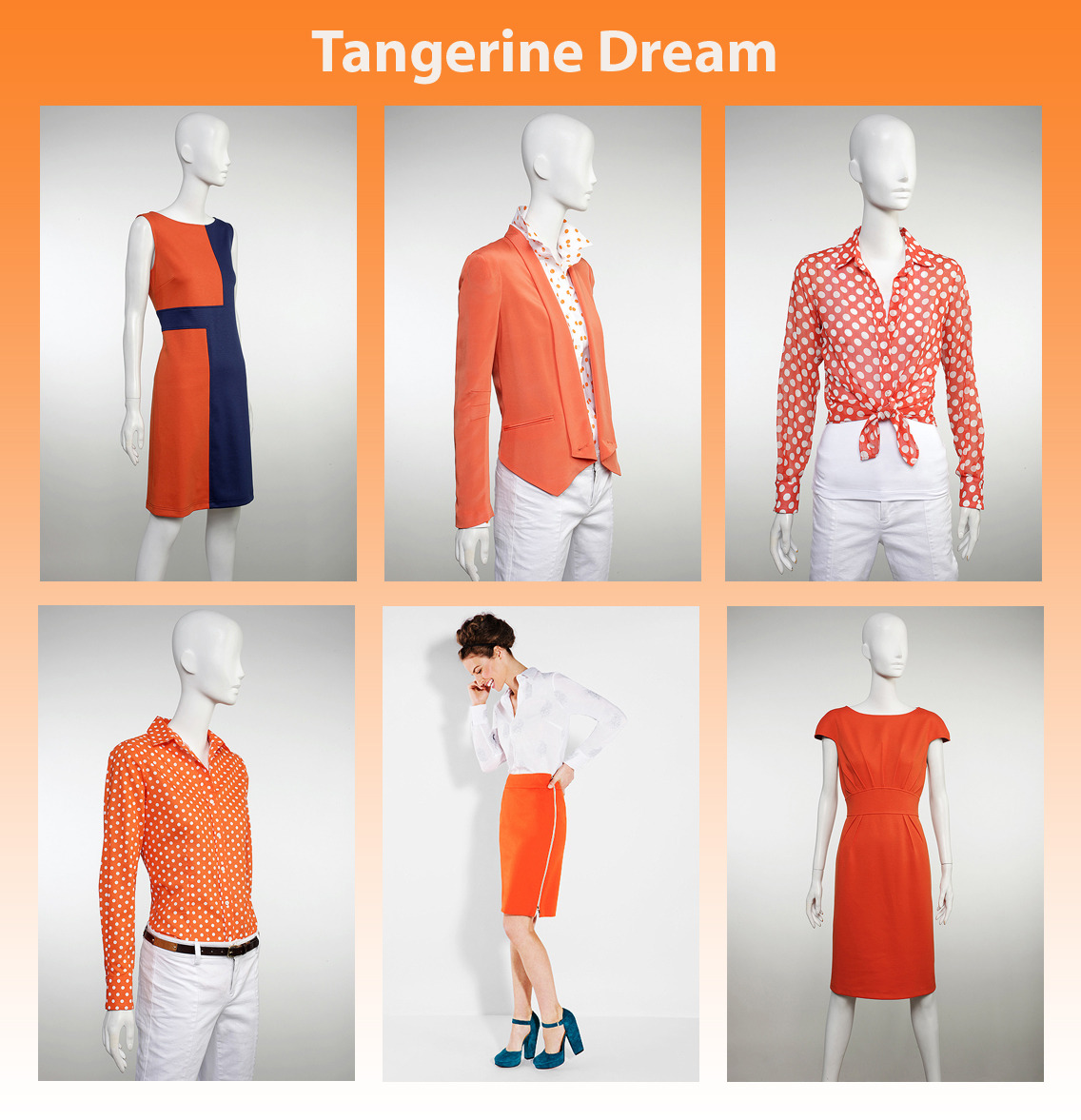 Attention grabbing tangerine is the color du jour and we're loving it! Bright and bold, this show stopping hue will help you stand out in a sea of other colors and will definitely turn heads.  When pairing tangerine with other colors, we suggest steering clear of black and instead choosing neutral colors such as khaki, cream, olive, yellows, browns of nearly every shade, and grey. Orange teamed with deep blue is another hot color combo that looks absolutely fabulous! If tangerine isn't the most flattering color on you but you still love the trend, you can always incorporate this juicy hue into your wardrobe with small accessories such as an orange handbag or a belt. This will add a pop of color without being too loud. Another easy way to incorporate the color is with a lip color in a coral, melon or mango shade which is fun and flirty for the Spring. Pictured (Clockwise from top left): Searle Sleeveless Color Block Dress Rebecca Minkoff Neon Orange Becky Jacket Searle Semi Sheer Polka Dot Shirt Searle Cap Sleeve Sunburst Dress Paperwhite Side Zip Pencil Skirt Searle Printed Button Down Shirt