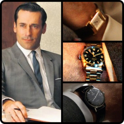 @Mad_MenAMC #Watches of Don Draper Jaeger-LeCoultre #Reverso, #Rolex Explorer & #Omega Seamaster DeVille #MadMen #60s #advertising #Don #Draper #classic #vintage #fashion #picstitch #watch #photooftheday #picoftheday #tv #retro #classy #bestoftheday #time #clock #timepiece #timepieces (Taken with instagram)