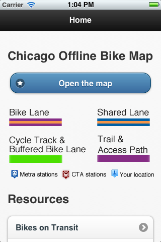 Sneak peak at the new home screen of Chicago Offline Bike Map v0.2.