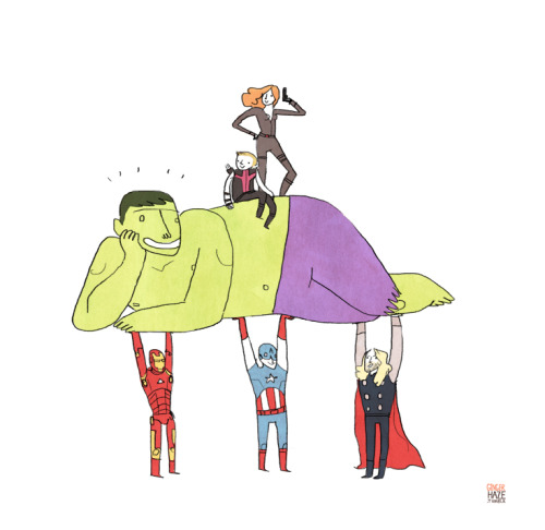 gingerhaze:  HULK AM TIRED OF CARRY AVENGERS. TIME FOR AVENGERS CARRY HULK.