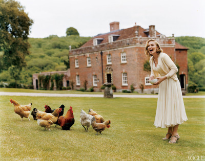vogue:  NOSTALGIA: Madonna Photographed by Tim Walker at the Ashcombe House for the August 2005 Issue of Vogue  TBQH, I doubt Madge is the kind of lady who would tend her own garden or care for her own chickens. I mean, she hates hydrangeas. What kind of monster hates hydrangeas?