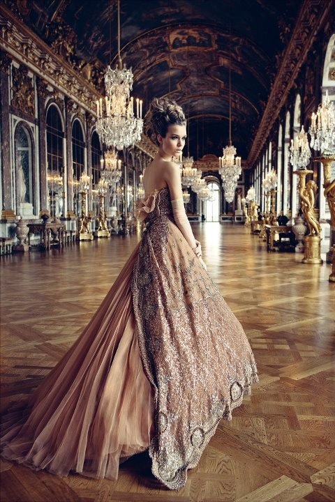 DIOR gown  Where: Versaille Palace, France