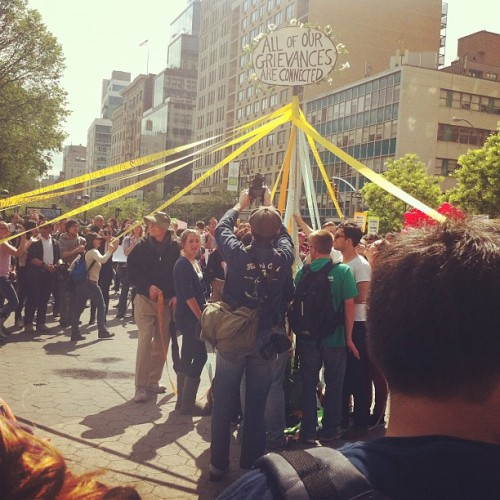 "moxann:  #m1gs #mayday #solidarity #occupy #m1nyc #ows (Taken with instagram)  ""All of our grievances are connected."""