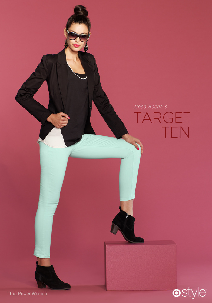 Coco Rocha's Target 10: The Power Woman own it: blazer. tank. pistachio pants. booties.