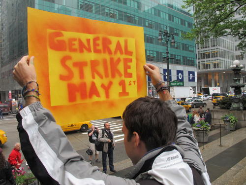 "shortformblog:  Photos: The Occupy movement and the ""May Day"" general strike Happy May Day: Here's a selection of photos from the May 1st general strike, pushed by the Occupy movement, along with labor activists worldwide. As many as six have been arrested in New York City alone in the protests, intended to show the ""1 percent"" what life without the ""99 percent"" would be like. (From top left, via Photo Gallery, Swanksalot, Lennon Ying-Dah Wong, Takver, Petteri Sulonen, Hossam el-Hamalawy, Barbro Uppsala, Amine Ghrabi, and Trowbridge Estate.)"