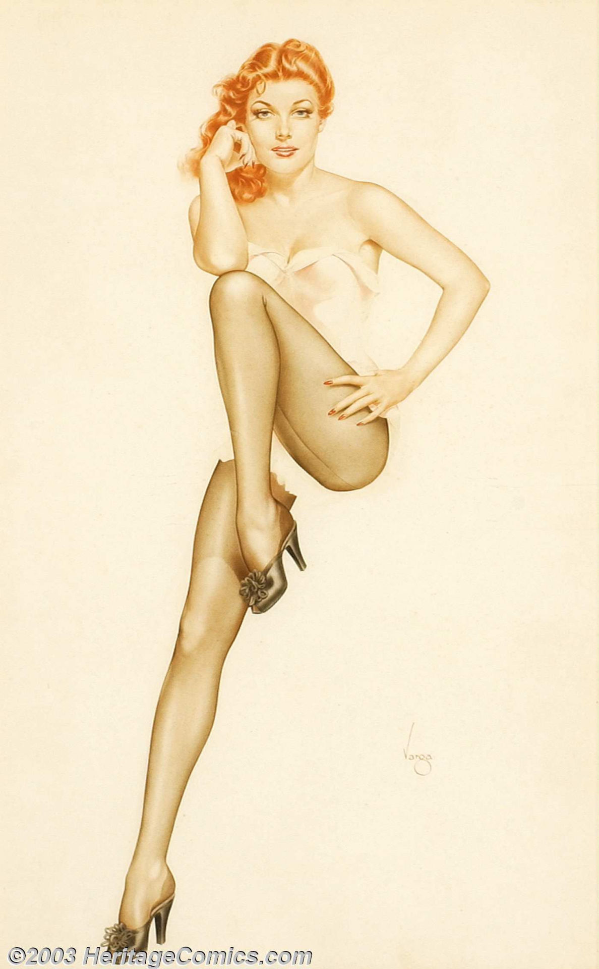 msbehavoyeur:  Red ~ Alberto Vargas (1896-1982) early 1940s original illustration, likely that of Hollywood actress Ann Sheridan.  (c.mid-1940s). via