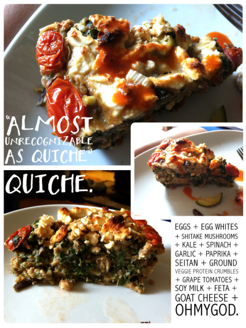 Almost-Unrecognizable-as-Quiche Quiche. 6 servings per slice*226 calories16g carbs6g fat27g protein5g fiber2g sugar wow. this quiche is a monster. I had to toss another egg white in at the end because there was just so much stuff going on in there. It tastes insanely good. Basically all the grams of carbs are from happy places (vegetables) and the protein from even happier places (seitan, ground veggie protein crumbles, cheese, and eggs). Half a slice is almost enough to satisfy!  *shown above is only half a slice