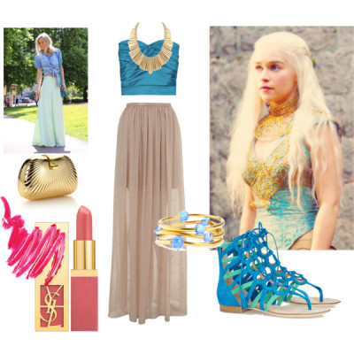 Summer Day in Qarth by WhatWouldKhaleesiWear   What Would Khaleesi Wear?A Modern Day translation of her Qarthian (?) outfits. Blue and gold are the dominant colors, and add bright pink lipstick to complete the look. A tight blue crop top will do to bare appropriate midriff with a high-waist sheer tan maxi skirt.