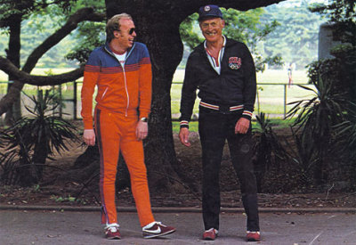 Co-founders of Nike, Phil Knight and Bill Bowerman.  Bowerman is credited with creating the design for the modern Dad Sneaker.