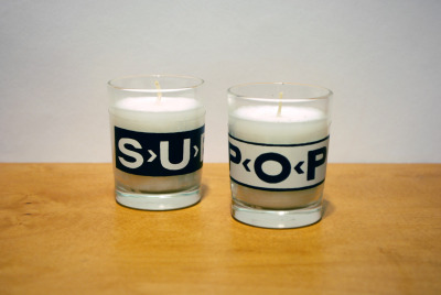 Sub & Pop (Votives for Record Labels), 2012, hand drawn, two-layer screen prints on laminating film, found votive candles. [ RETURN ]