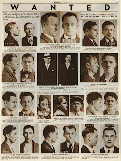 Wanted fugitives page from the Chicago Tribune, February 1934, Chicago.