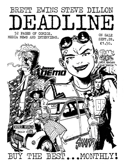 Promotional ad for Deadline featuring 'Tank Girl' by Jamie Hewlett, 'Johnny Nemo' by Brett Ewins, 'Wired World' by Philip Bond, and 'Sharp' by Steve Dillon, 1988.