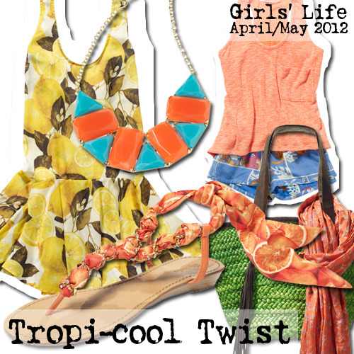 Vacay cliche-gone-chic: Classic Hawaiian prints doused in trendy hues and juiced up with the zestiest citrus prints under the Capri sun. Get the look at girlslife.com.