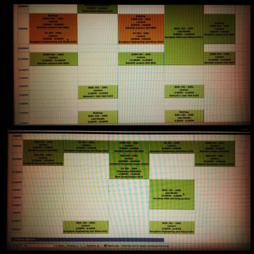 April 30, 2012121 of 366 || Schedule Got really lucky. The Chem class I wanted somehow opened up and I got to get into it with 3 spots left! I went having a crappy schedule on the top to a nice, much neater schedule on the bottom.