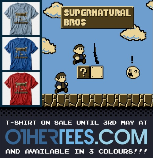 My Supernatural Bros. T-shirt design is on sale at OtherTees.com right now and will be gone in 48 hours so make sure you buy a copy while you can! and don't forget that you have 3 choices of T-shirt to choose from, Royal Blue, light Blue and Red :D