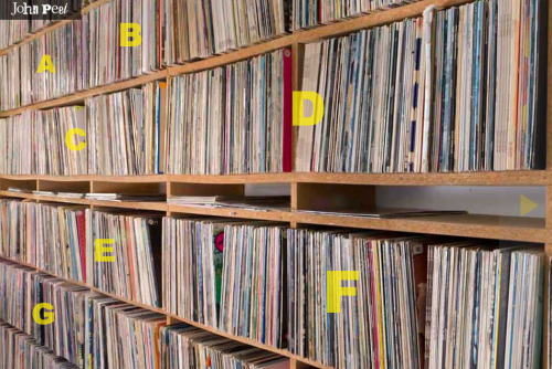 yvynyl:  Hell yes.  Listen to John Peel's legendary vinyl collection! This is exciting stuff for crate diggers around the world. Says the archive director Tom Barker:   After some deliberation we decided that the best way to start the process was to release the details of the first 100 albums, listed alphabetically, from each letter of the alphabet each week. So on 1st May we will release the first 100 A's, on 8th May the first 100 B's, 15th May first 100 C's, and so on. We also hope that by doing it on a week by week basis, you will keep coming back week after week, eager and excited to explore more of John's collection.