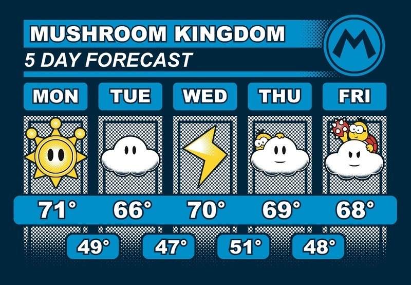 it8bit:  Mushroom Kingdom 5 Day Weather Forecast  Created by Adam Howlett / adho1982 Shirts available at Redbubble, prints available at Society6. Tumblr || Twitter  I will buy these shirts I swear it